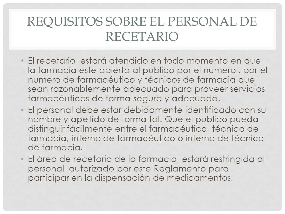 Requisitos sobre el personal de recetario