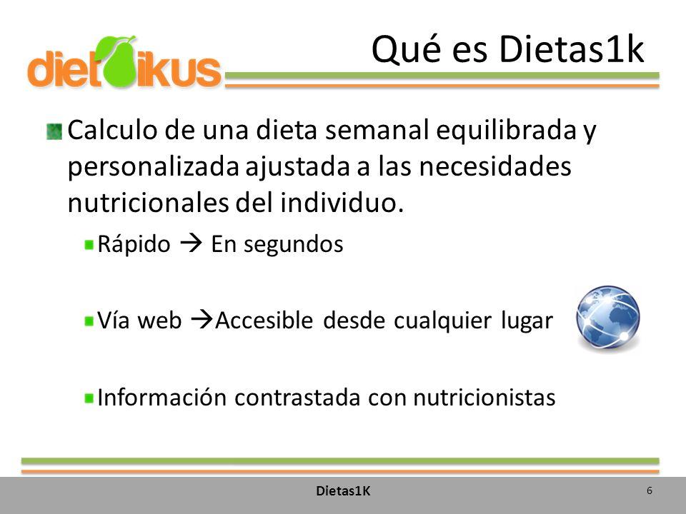 Qué es Dietas1k Calculo de una dieta semanal equilibrada y personalizada ajustada a las necesidades nutricionales del individuo.