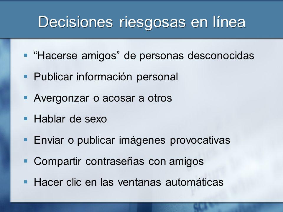 Decisiones riesgosas en línea