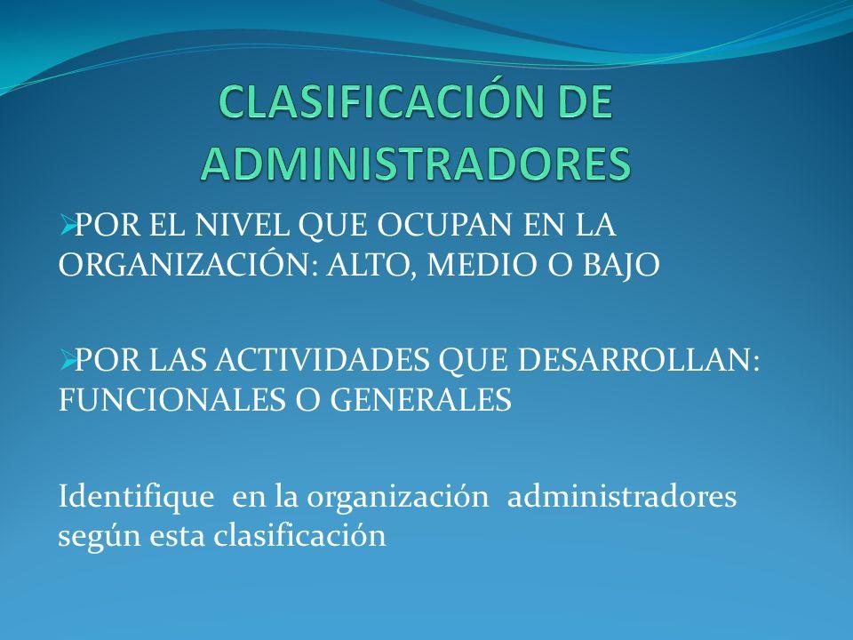 CLASIFICACIÓN DE ADMINISTRADORES