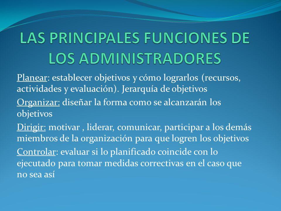 LAS PRINCIPALES FUNCIONES DE LOS ADMINISTRADORES