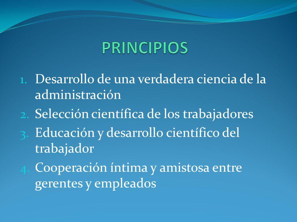 PRINCIPIOS Desarrollo de una verdadera ciencia de la administración