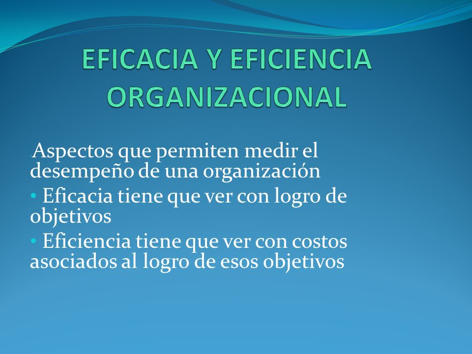 EFICACIA Y EFICIENCIA ORGANIZACIONAL