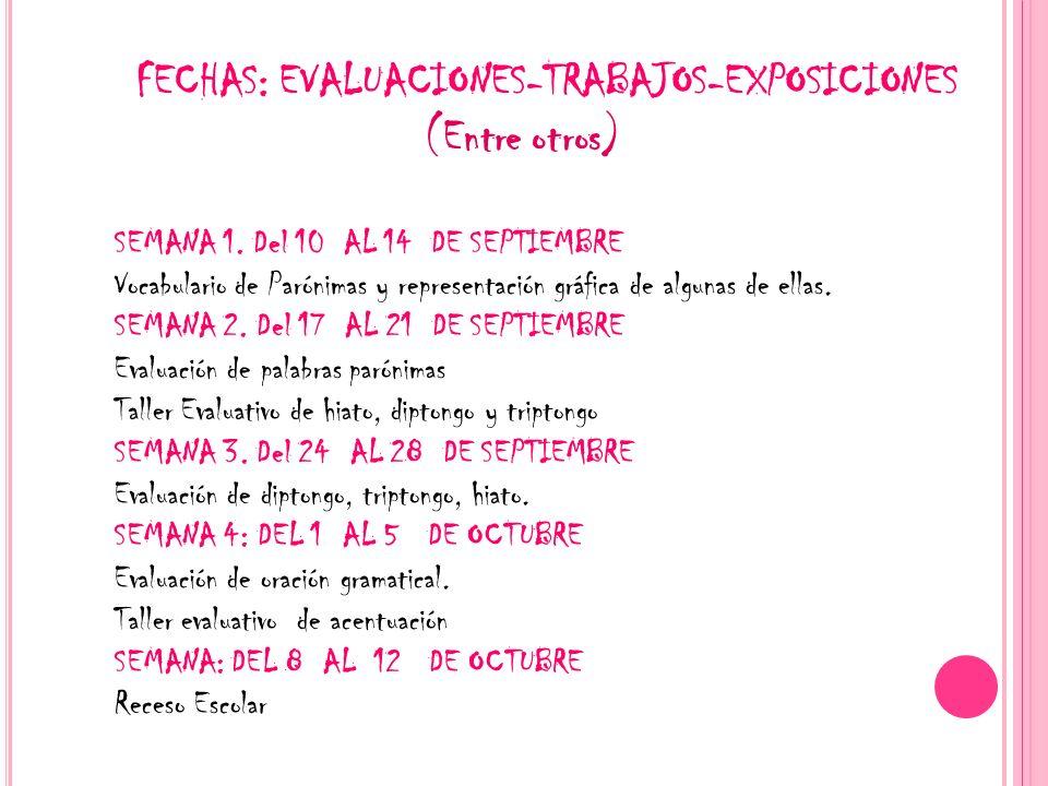 FECHAS: EVALUACIONES-TRABAJOS-EXPOSICIONES (Entre otros)