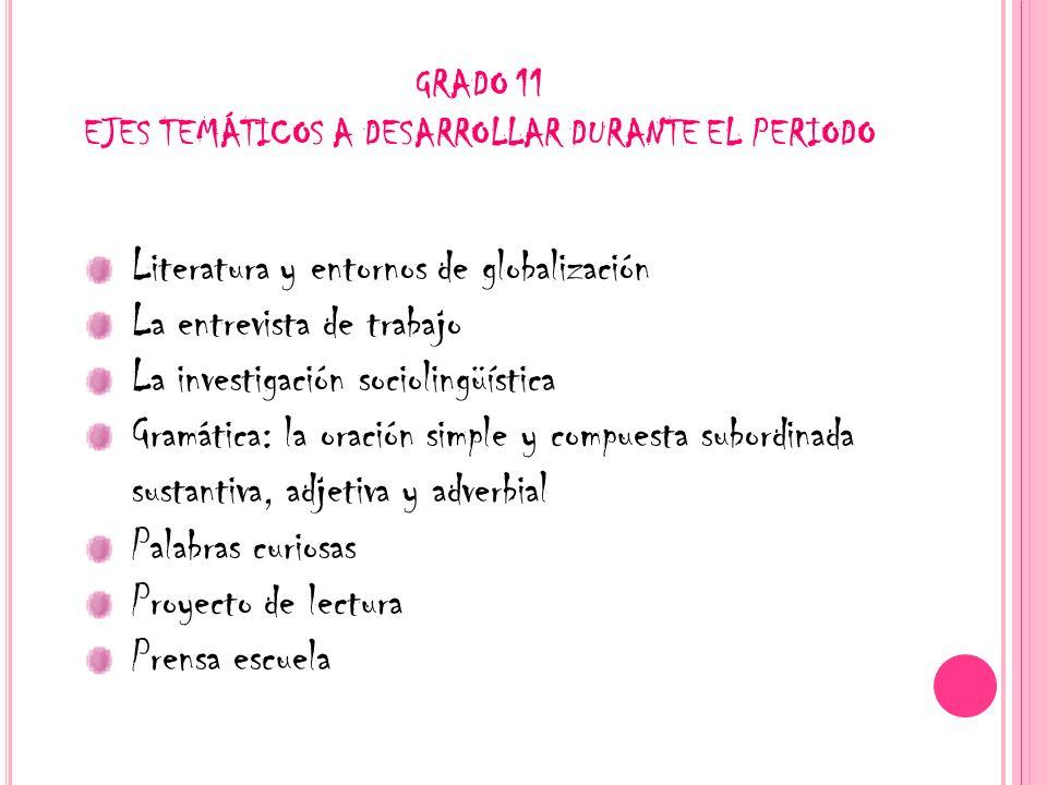 GRADO 11 EJES TEMÁTICOS A DESARROLLAR DURANTE EL PERIODO