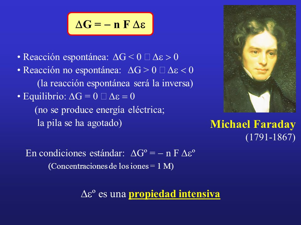 DG = - n F De Michael Faraday (1791-1867)