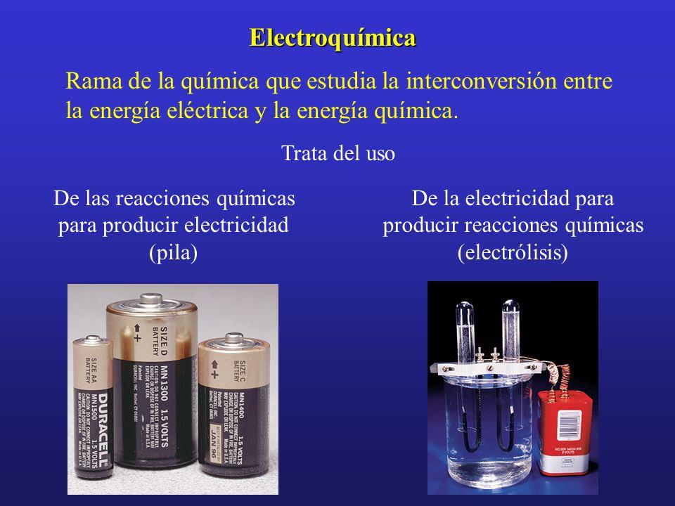 ElectroquímicaRama de la química que estudia la interconversión entre la energía eléctrica y la energía química.
