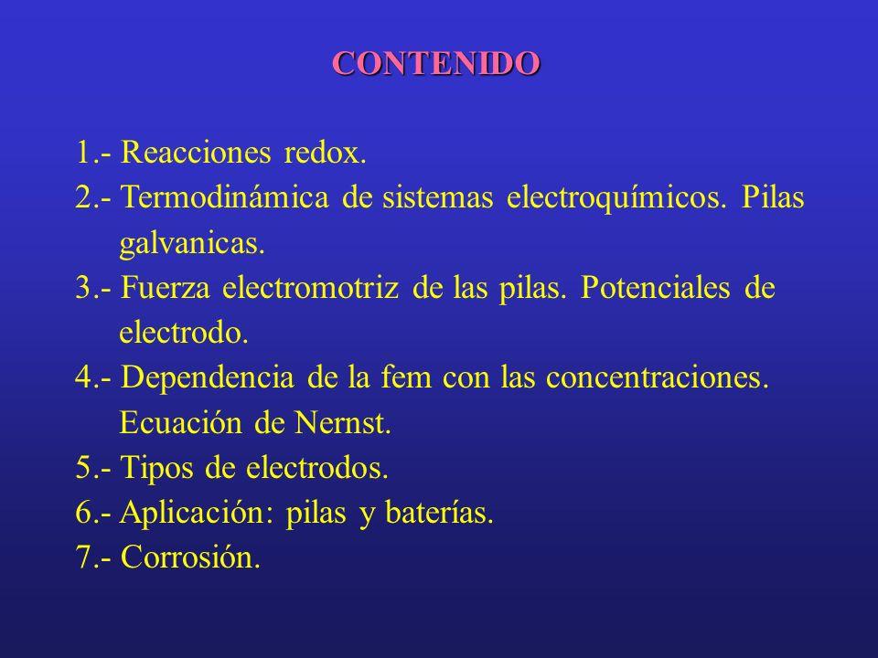 CONTENIDO 1.- Reacciones redox. 2.- Termodinámica de sistemas electroquímicos. Pilas galvanicas.
