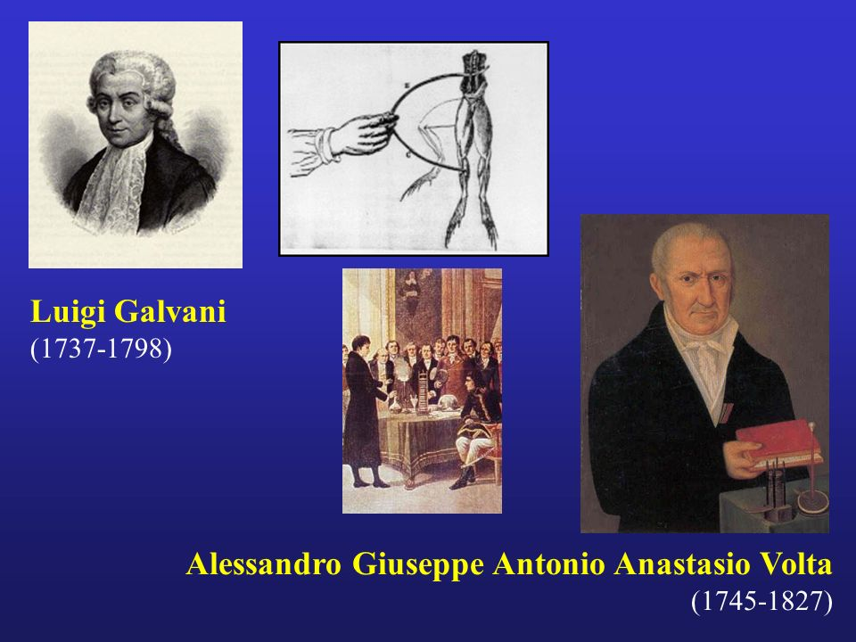 Luigi Galvani (1737-1798) Alessandro Giuseppe Antonio Anastasio Volta (1745-1827)