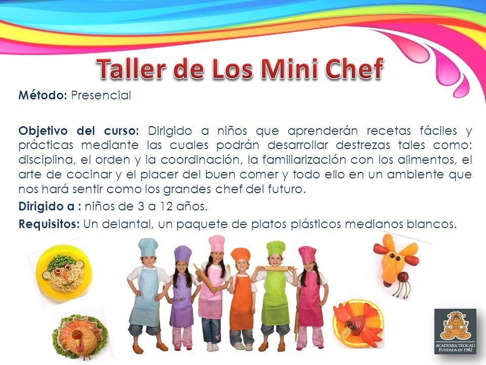 Taller de Los Mini Chef Método: Presencial