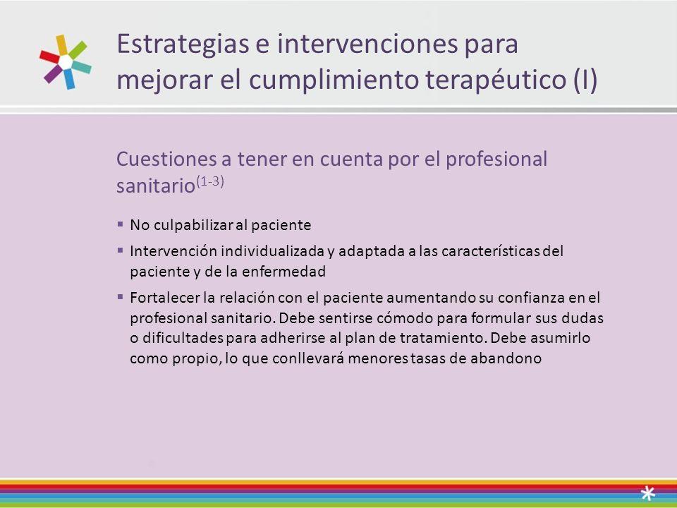 Estrategias e intervenciones para mejorar el cumplimiento terapéutico (I)