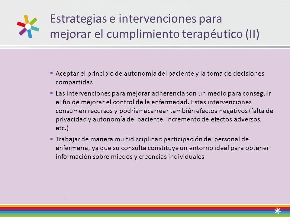 Estrategias e intervenciones para mejorar el cumplimiento terapéutico (II)