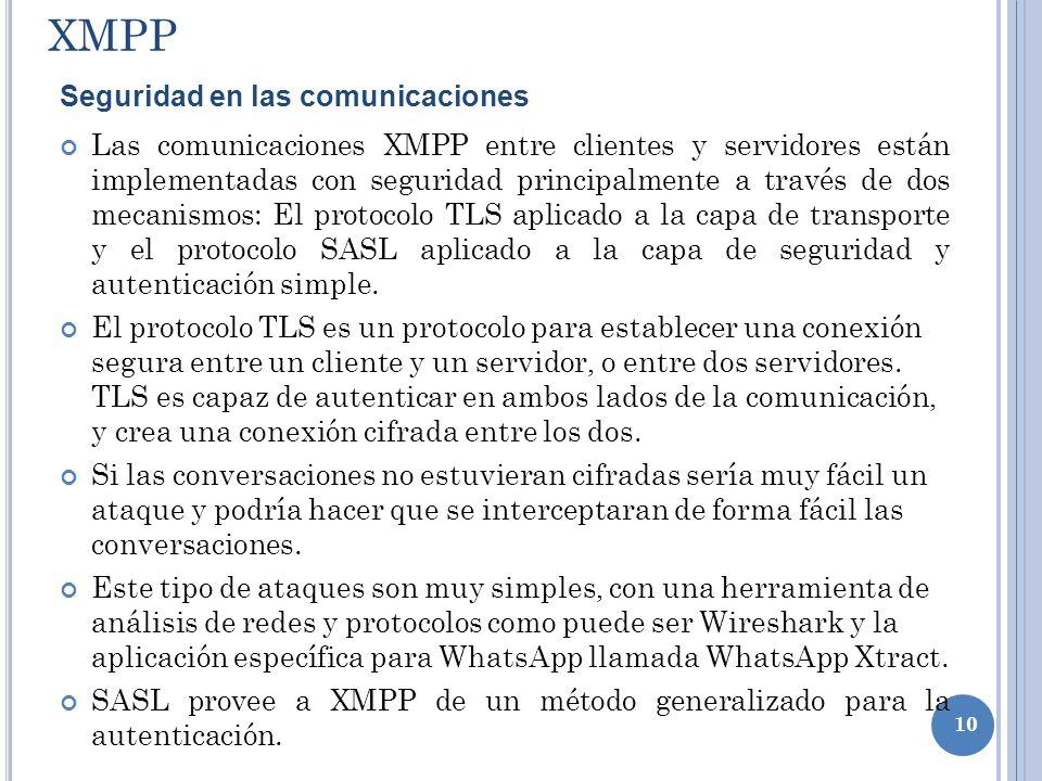 XMPP Seguridad en las comunicaciones