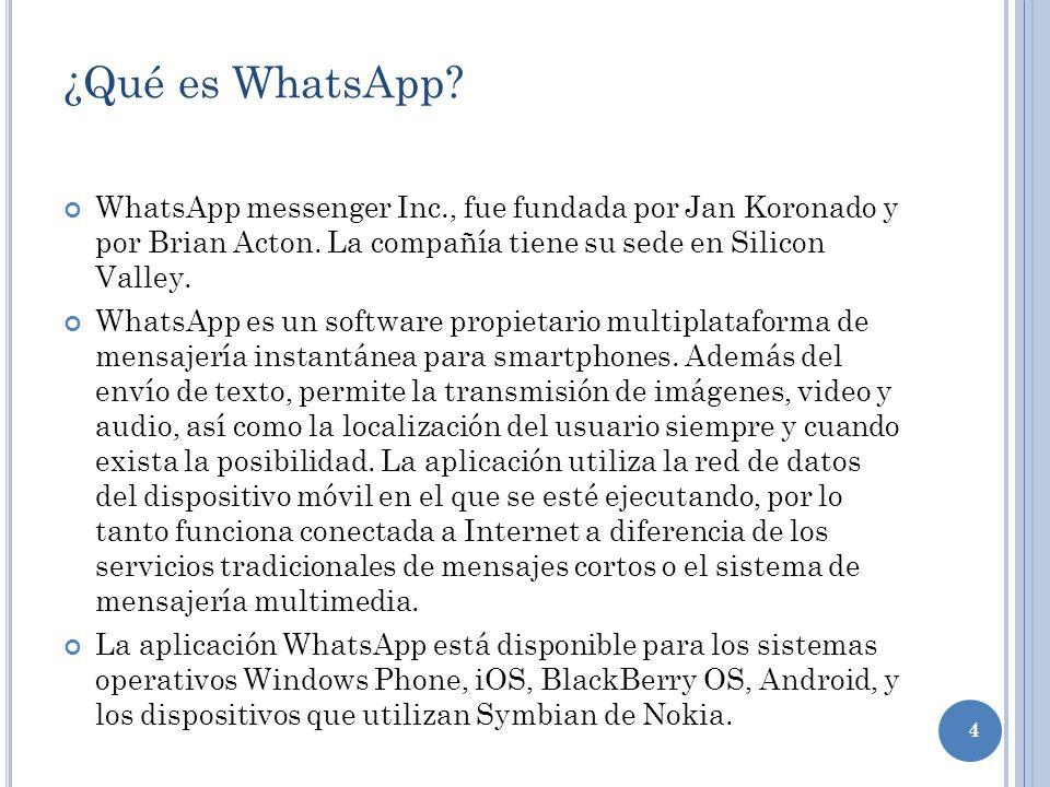 ¿Qué es WhatsApp WhatsApp messenger Inc., fue fundada por Jan Koronado y por Brian Acton. La compañía tiene su sede en Silicon Valley.