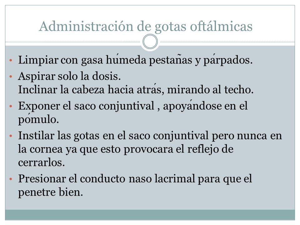 Administración de gotas oftálmicas