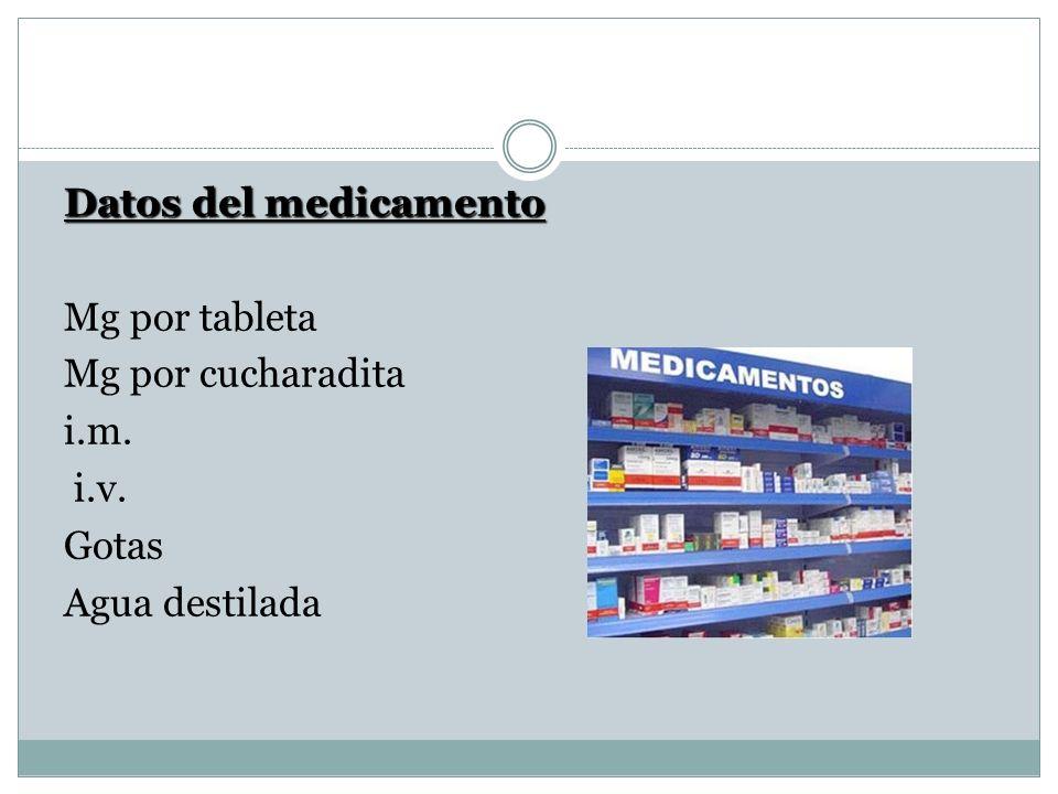 Datos del medicamento Mg por tableta Mg por cucharadita i. m. i. v
