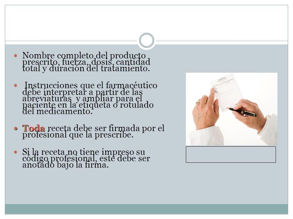 Nombre completo del producto prescrito, fuerza, dosis, cantidad total y duración del tratamiento.