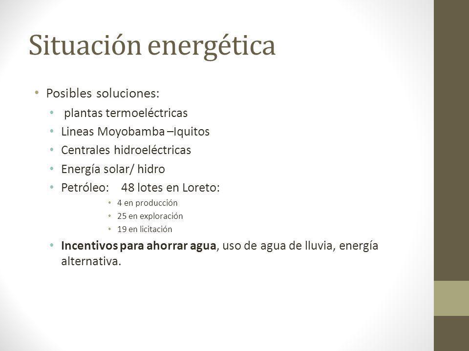 Situación energética Posibles soluciones: plantas termoeléctricas