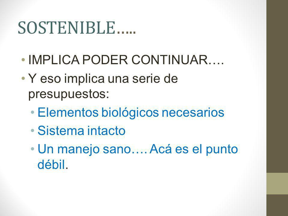 SOSTENIBLE….. IMPLICA PODER CONTINUAR….