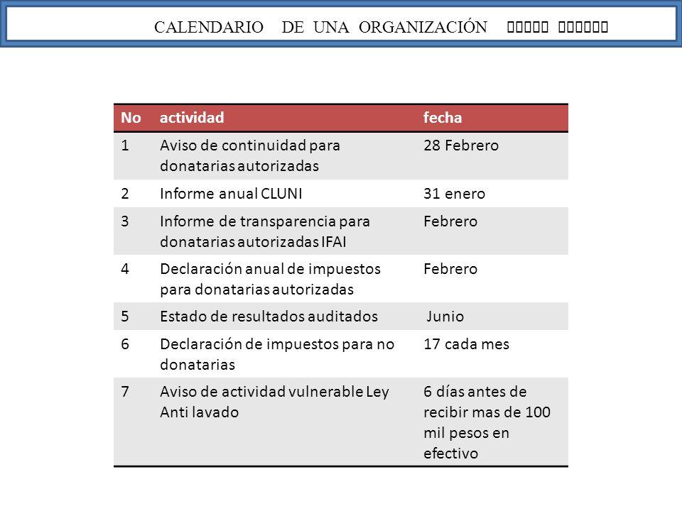 CALENDARIO DE UNA ORGANIZACIÓN LEGAL FISCAL