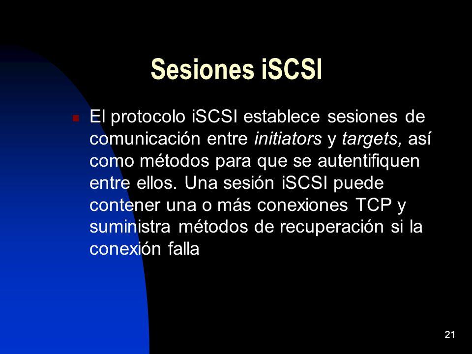 Sesiones iSCSI