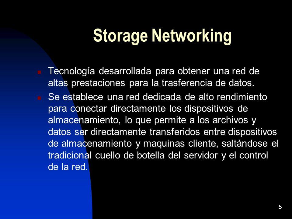 Storage Networking Tecnología desarrollada para obtener una red de altas prestaciones para la trasferencia de datos.
