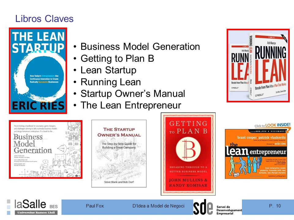 Libros Claves Business Model Generation. Getting to Plan B. Lean Startup. Running Lean. Startup Owner's Manual.