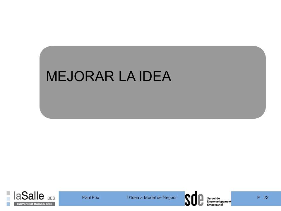 MEJORAR LA IDEA