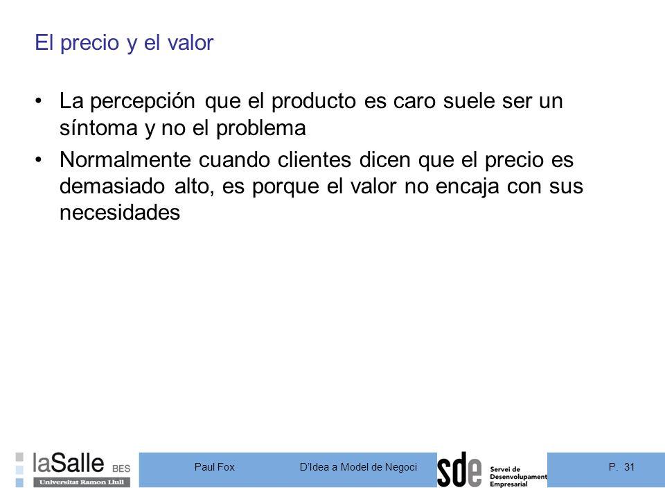 El precio y el valor La percepción que el producto es caro suele ser un síntoma y no el problema.