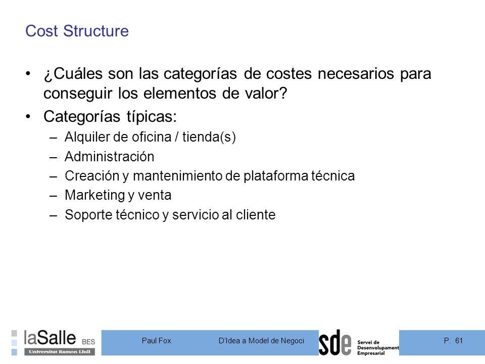 Cost Structure ¿Cuáles son las categorías de costes necesarios para conseguir los elementos de valor