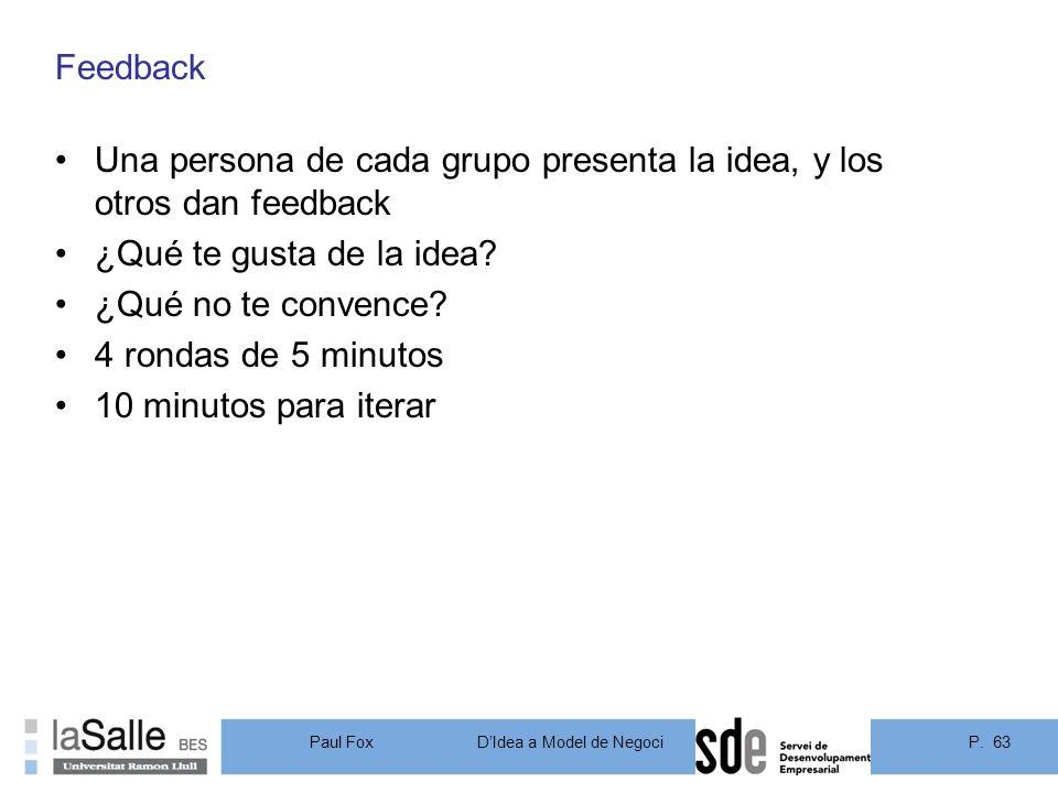 Feedback Una persona de cada grupo presenta la idea, y los otros dan feedback. ¿Qué te gusta de la idea