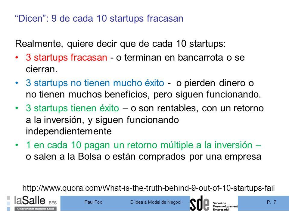Dicen : 9 de cada 10 startups fracasan