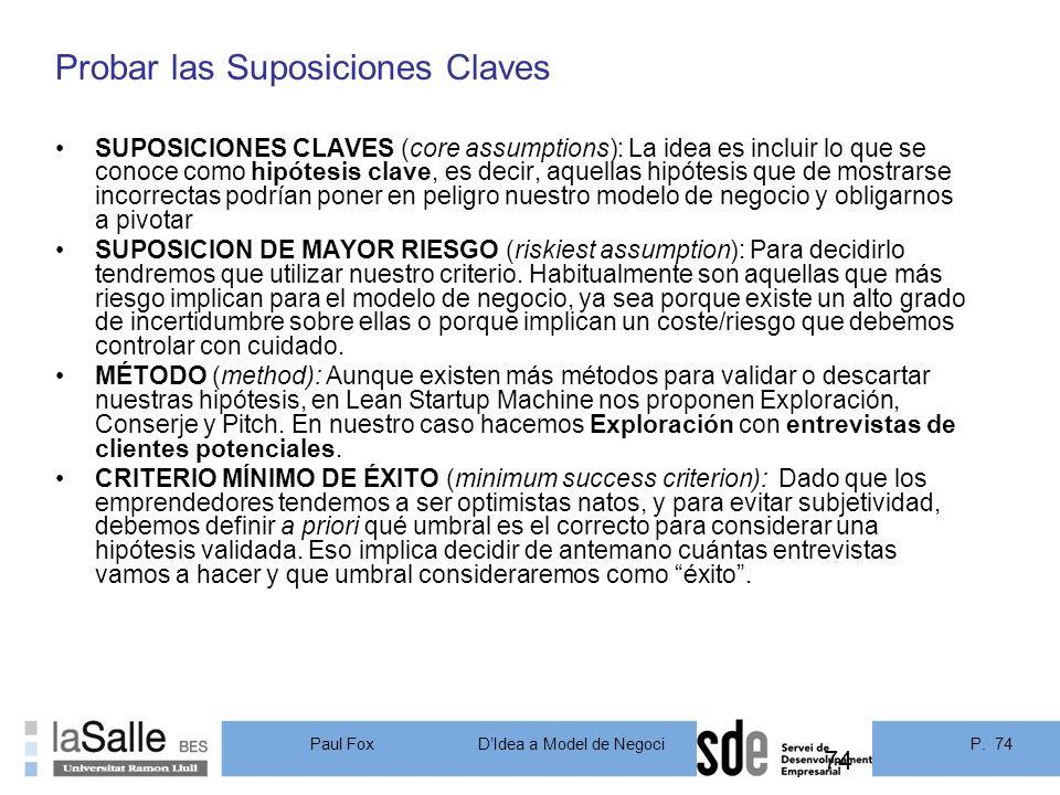 Probar las Suposiciones Claves