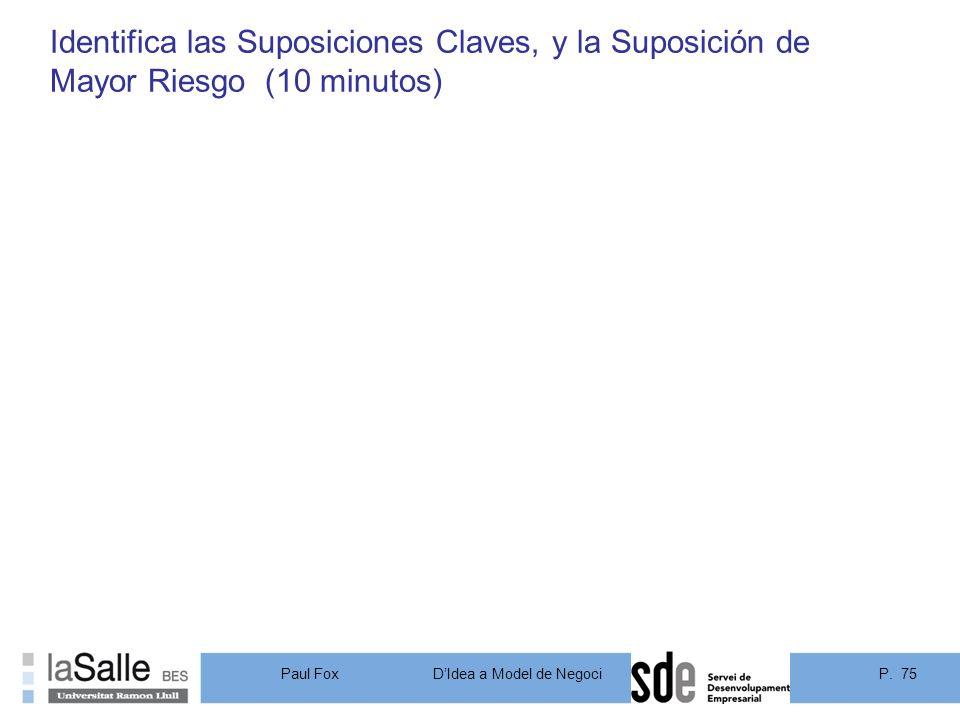 Identifica las Suposiciones Claves, y la Suposición de Mayor Riesgo (10 minutos)