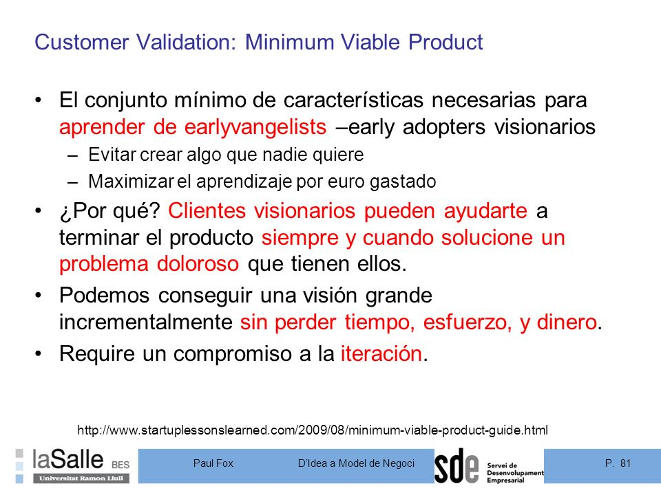Customer Validation: Minimum Viable Product