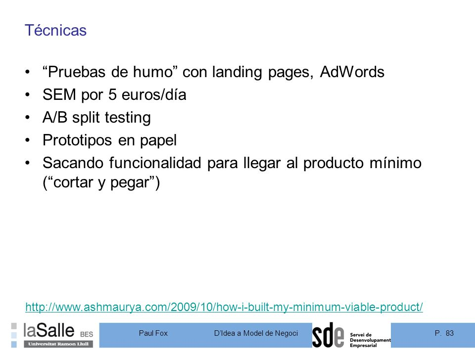 Pruebas de humo con landing pages, AdWords SEM por 5 euros/día