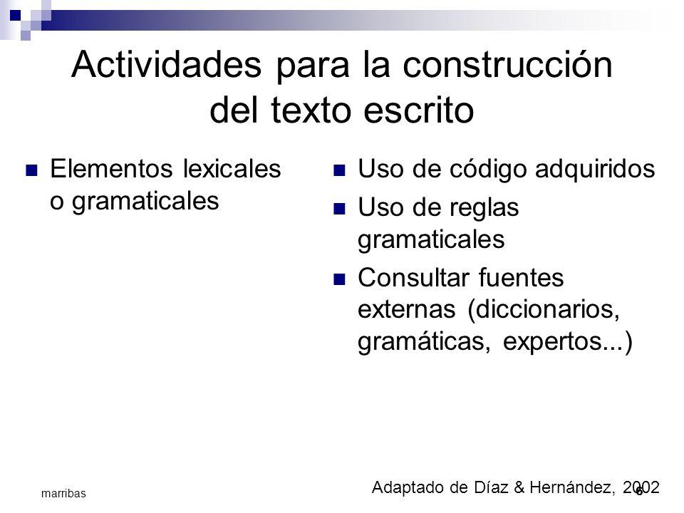 Actividades para la construcción del texto escrito