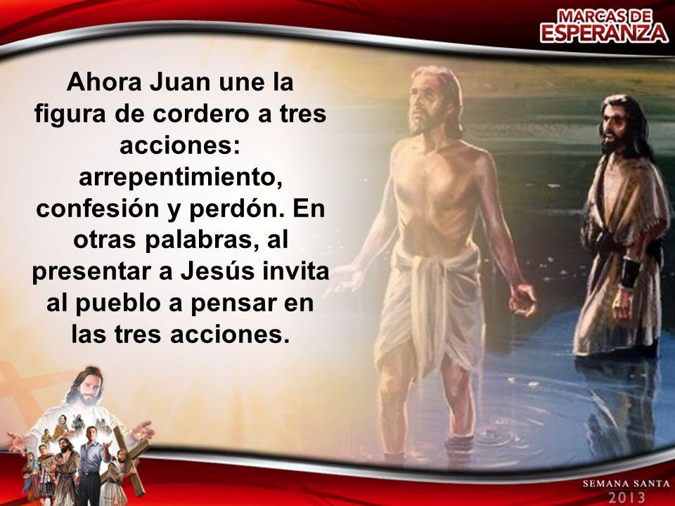 Ahora Juan une la figura de cordero a tres acciones: arrepentimiento, confesión y perdón.