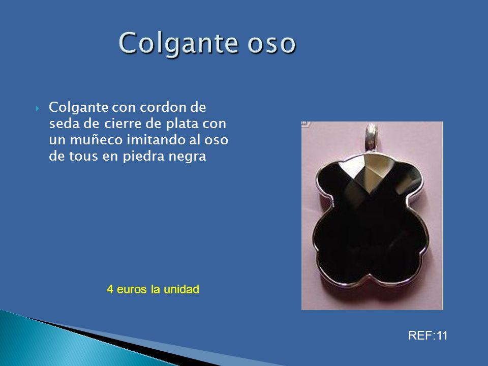 Colgante oso Colgante con cordon de seda de cierre de plata con un muñeco imitando al oso de tous en piedra negra.
