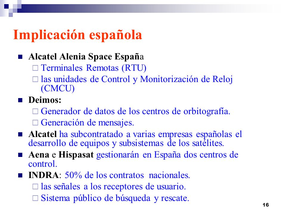 Implicación española Alcatel Alenia Space España
