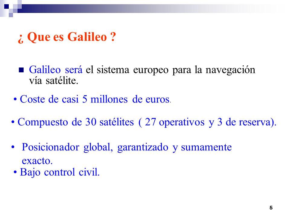 ¿ Que es Galileo Galileo será el sistema europeo para la navegación vía satélite. Coste de casi 5 millones de euros.