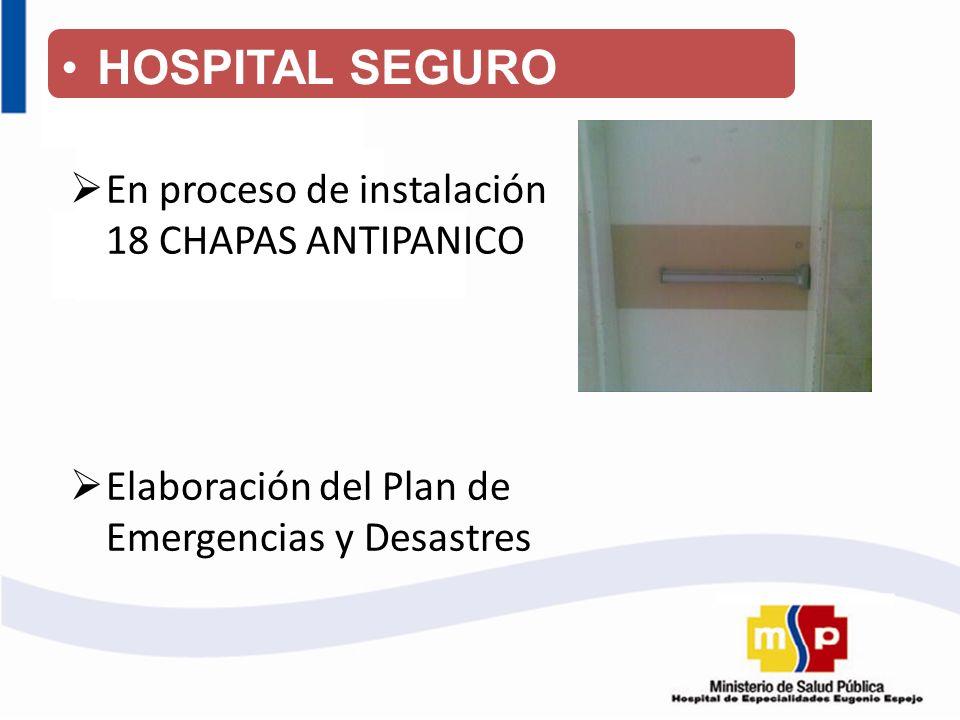 HOSPITAL SEGURO En proceso de instalación 18 CHAPAS ANTIPANICO