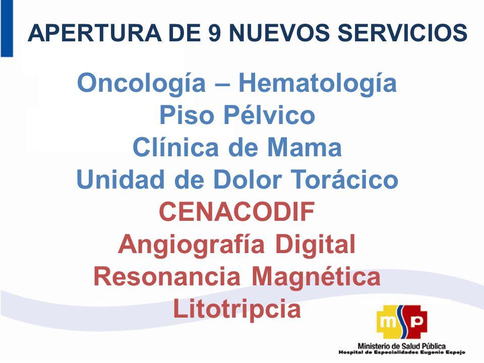 APERTURA DE 9 NUEVOS SERVICIOS