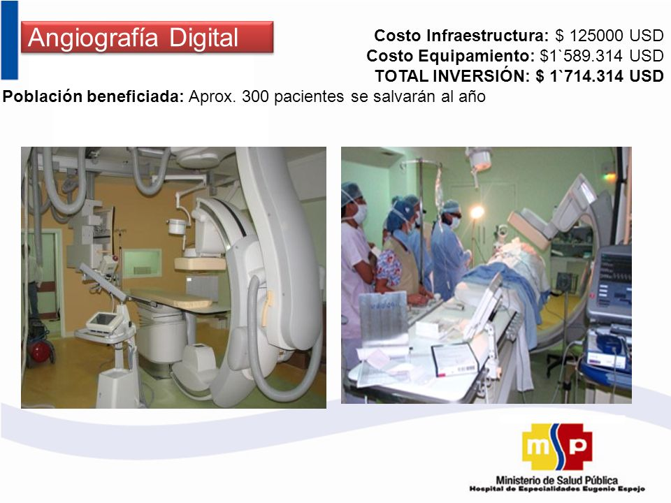 Angiografía Digital Costo Infraestructura: $ 125000 USD