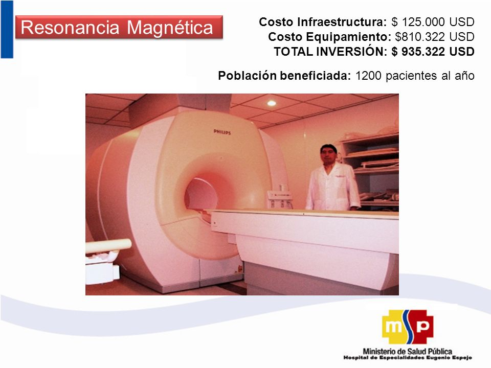 Resonancia Magnética Costo Infraestructura: $ 125.000 USD