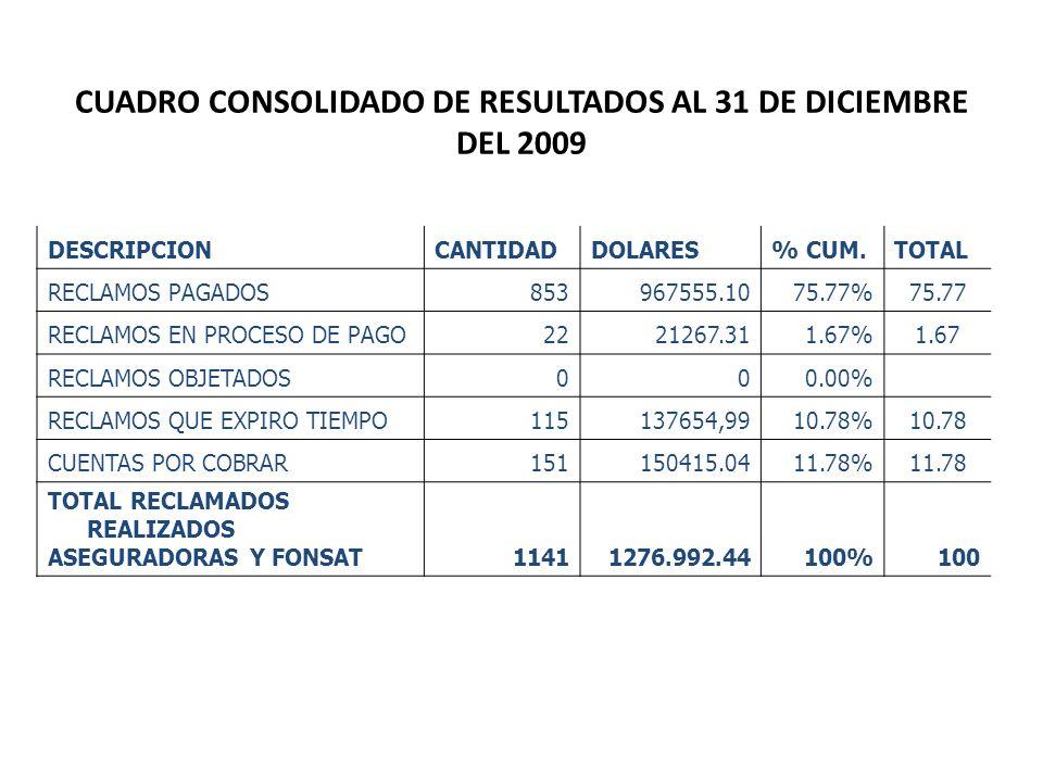 CUADRO CONSOLIDADO DE RESULTADOS AL 31 DE DICIEMBRE DEL 2009