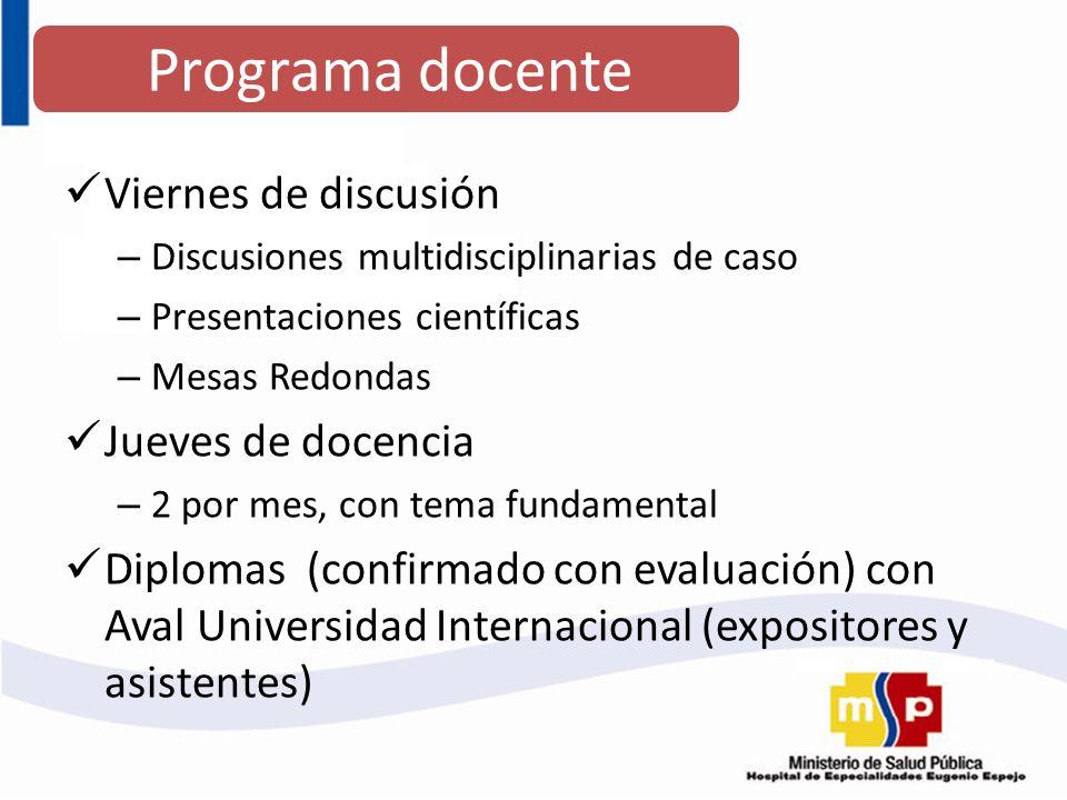 Programa docente Viernes de discusión Jueves de docencia