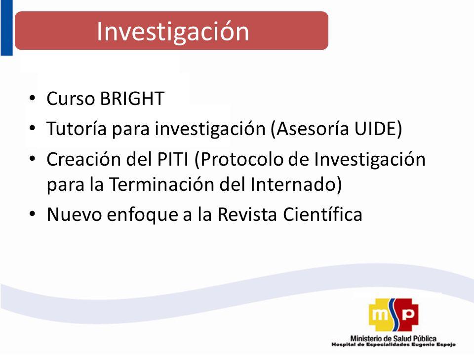 Investigación Curso BRIGHT Tutoría para investigación (Asesoría UIDE)