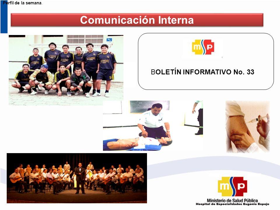 Perfil de la semana. Comunicación Interna BOLETÍN INFORMATIVO No. 33