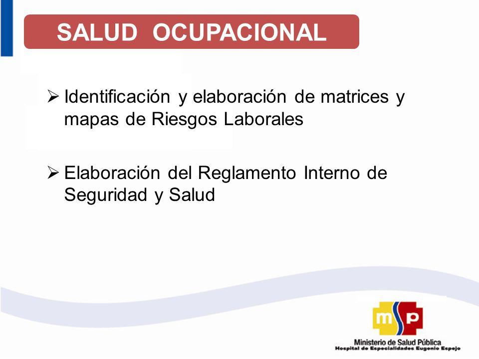SALUD OCUPACIONAL Identificación y elaboración de matrices y mapas de Riesgos Laborales.